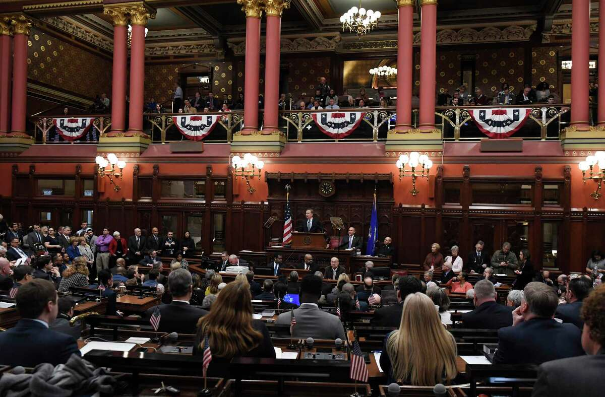 Connecticut Gov. Ned Lamont delivers an address at the state Capitol in Hartford in 2019.