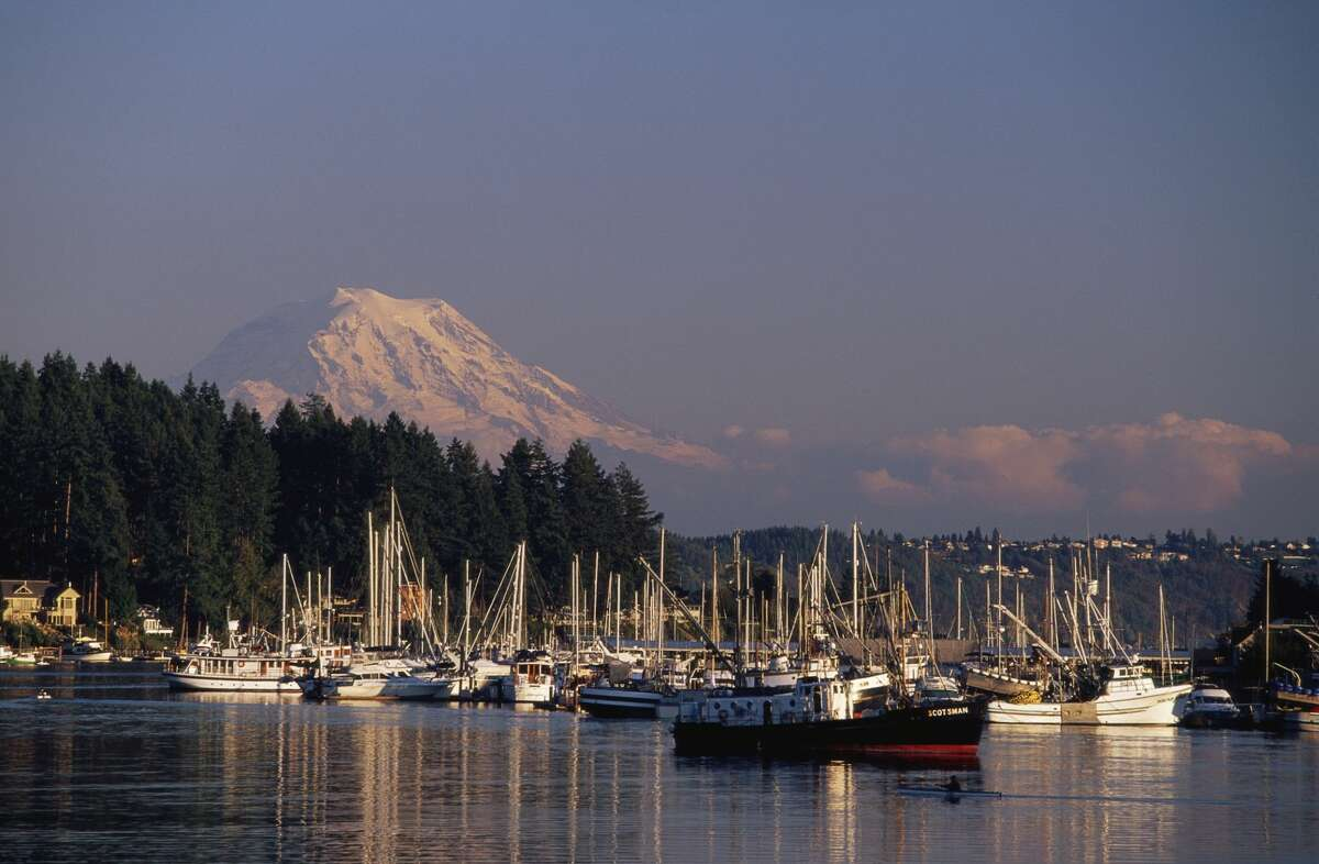 A view of Gig Harbor and Mount Rainier in Washington.