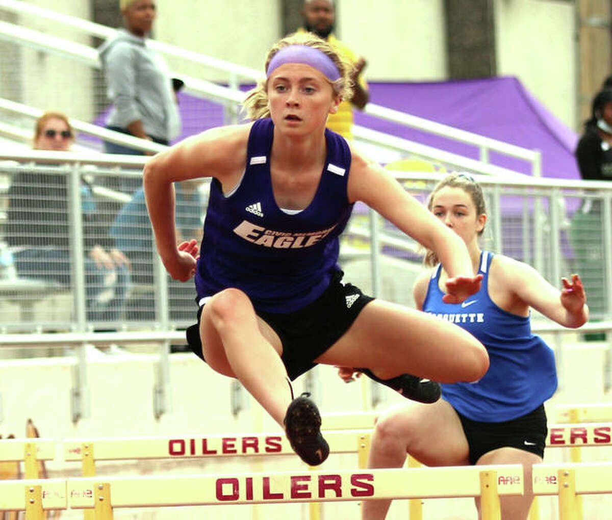 CM sophomore Bella Dugger wins the 100-meter hurdles at the Madison County Meet on May 17 in Wood River. Dugger makes her first state appearance in the event Friday in Charleston.