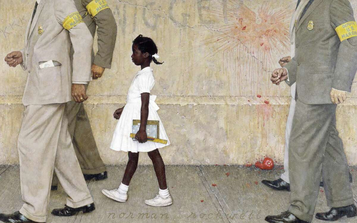 """Annette Gordon-Reed was the first African American child to desegregate her school in Conroe, much like Ruby Bridges in New Orleans, as depicted in Norman Rockwell's 1964 painting, """"The Problem We All Live With."""""""
