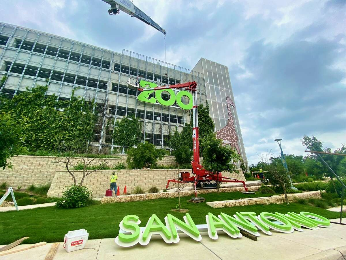 The San Antonio Zoo on Wednesday installed the second lime green zoo sign on the side of its parking garage visible from U.S. 281.