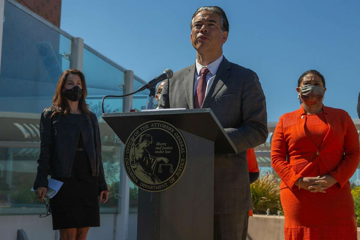 California Attorney General Rob Bonta, during a visit to San Francisco General Hospital, announces the state's decision to appeal a federal judge's ruling last week overturning California's long-standing ban on assault weapons.