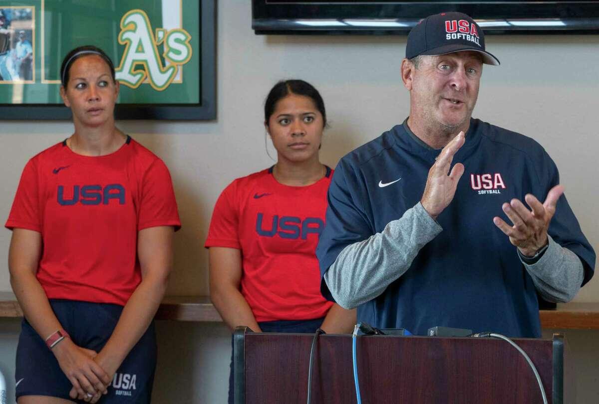 Team USA's Coach Ken Eriksen talks with the media with veteran pitcher Cat Osterman and rookie catcher Dejah Mulipola 06/10/2021 at Momentum Bank Ballpark. Tim Fischer/Reporter-Telegram