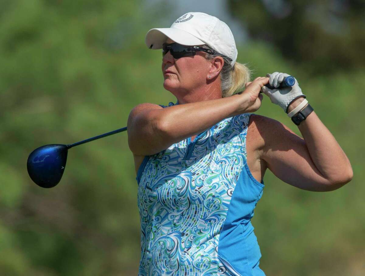 Jennifer Hoyt follows her shot 06/10/2021 during the final round of the Women's West Texas Tournament at Midland Country Club. Tim Fischer/Reporter-Telegram