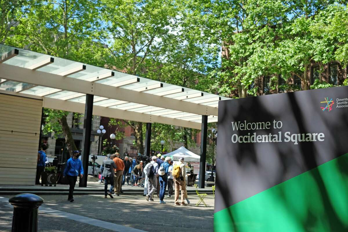 The new pavilion at Occidental Park in downtown Seattle.