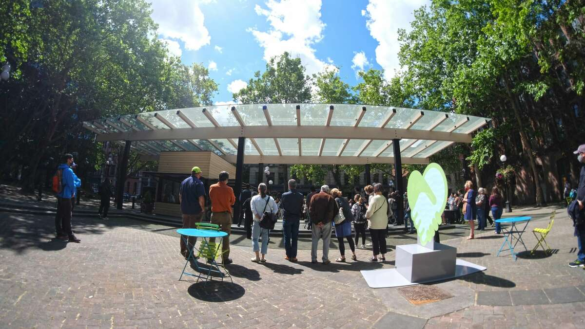 A view of the new pavilion at Occidental Park in downtown Seattle.