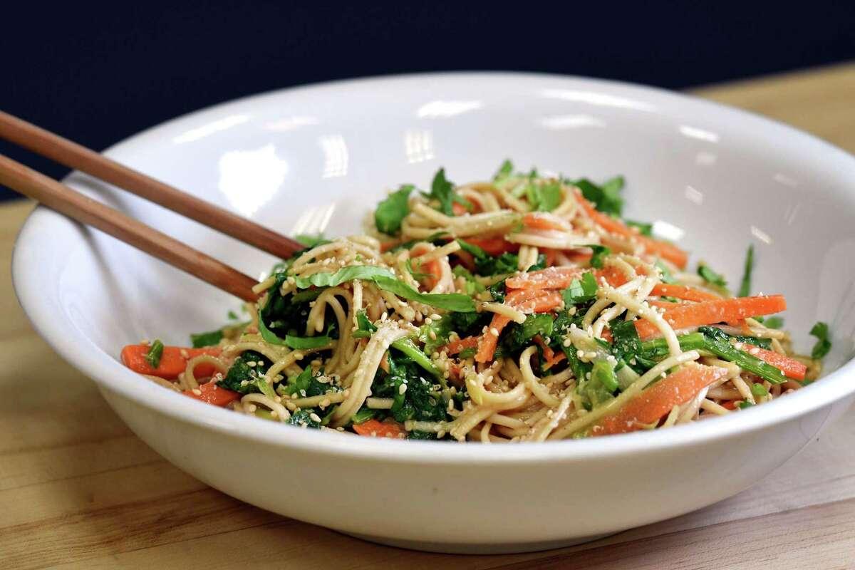 Caroline Barrett's sesame buckwheat noodles with herbs and veggies. (Will Waldron/Times Union)