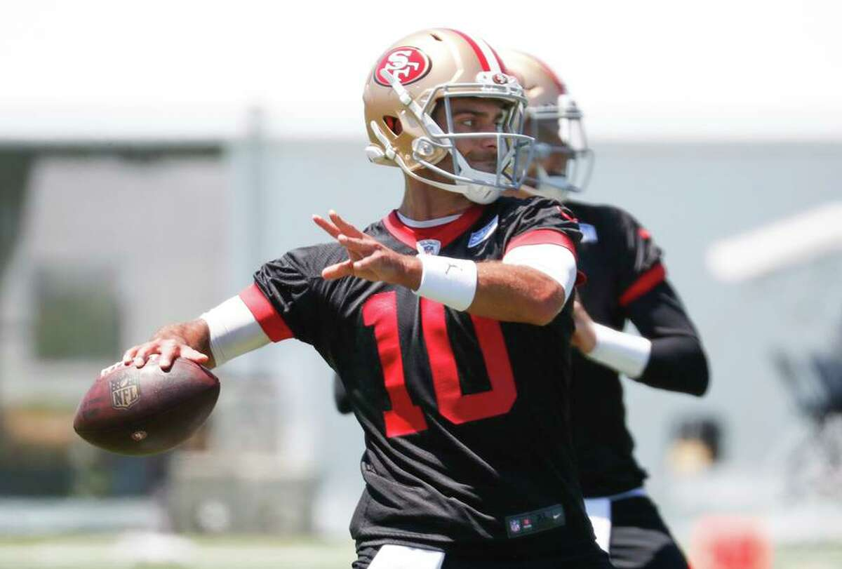 """Jimmy Garoppolo is the 49ers' best quarterback """"right now,"""" said coach Kyle Shanahan."""