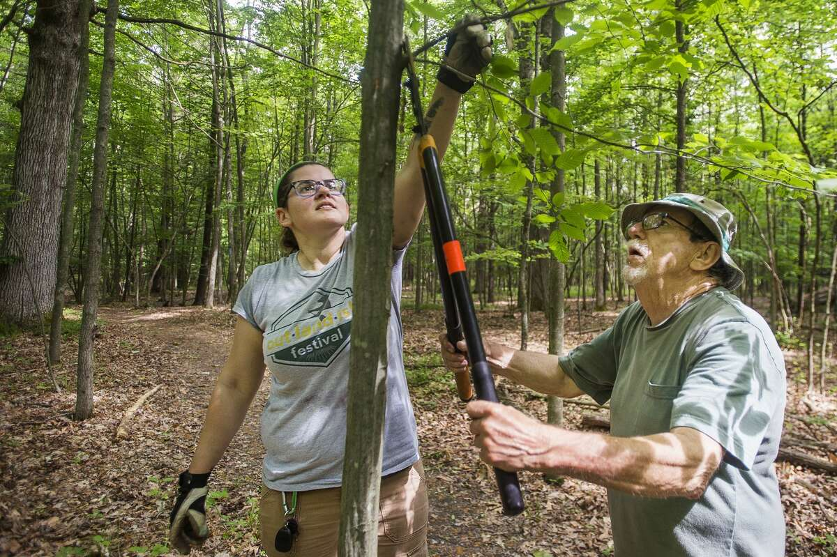 Little Forks Conservancy preserve and volunteer manager Sara Huetteman, left, and volunteer Denny Brooks, right, stop to prune a tree while walking along a trail and looking for areas needing improvement Tuesday, June 8, 2021 at the Riverview Natural Area in Midland as part of Little Forks Conservancy's weekly