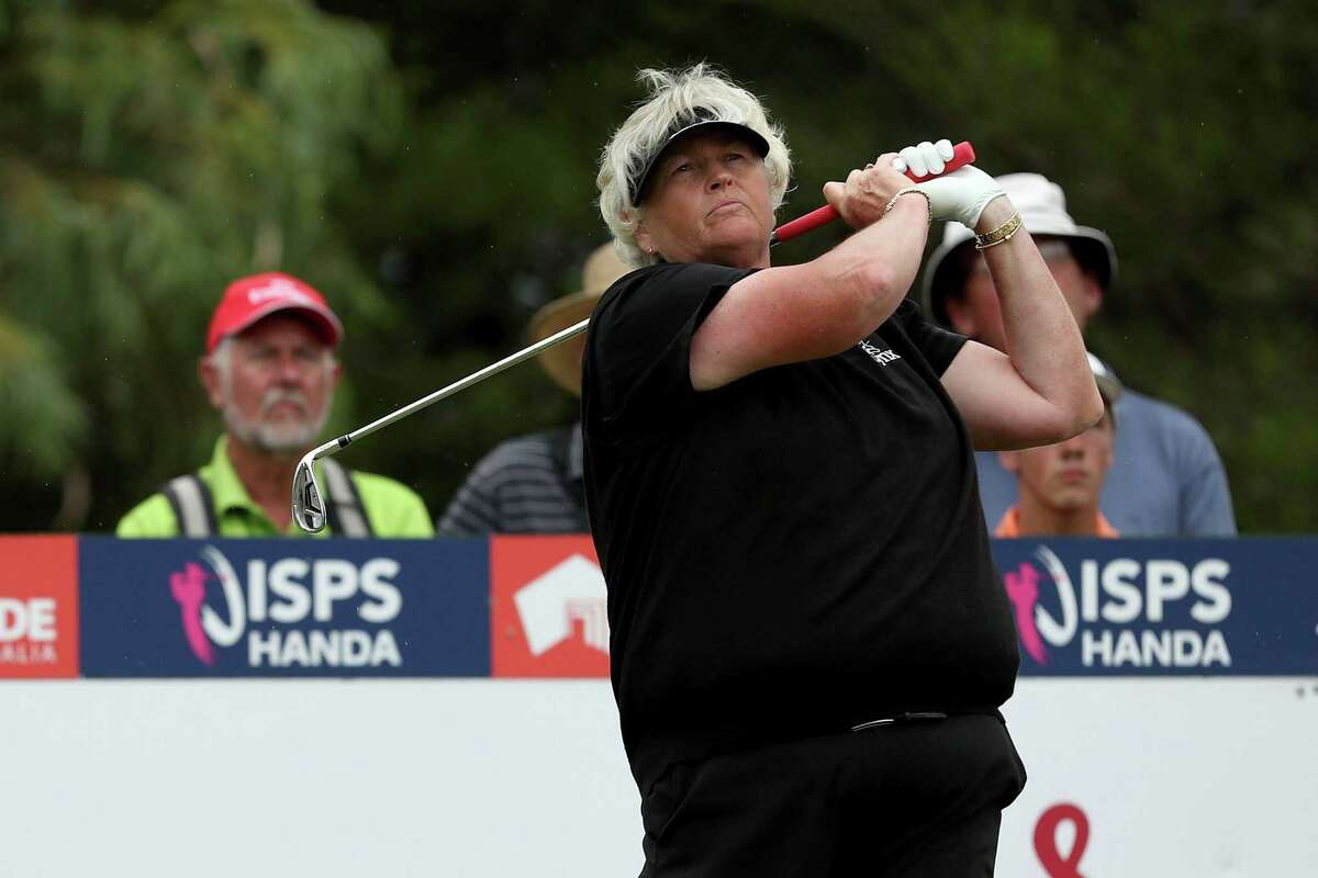 England's Laura Davies tees off during the final round of the Women's Australian Open at Kooyonga Golf Club in Adelaide on February 18, 2018.
