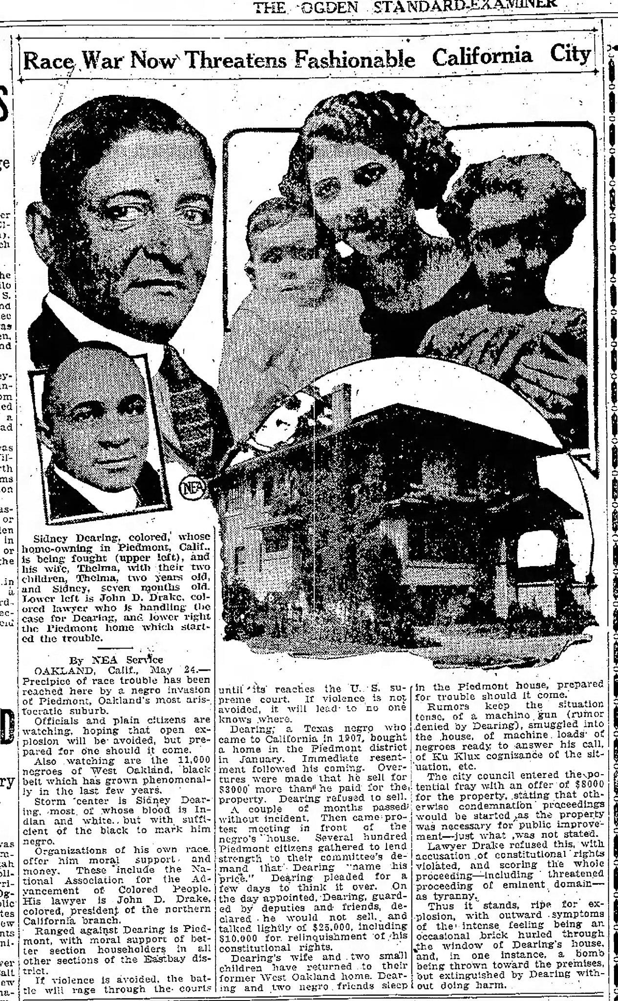 An affluent East Bay city chased out its first Black homeowner a century ago - and still hasn't atoned
