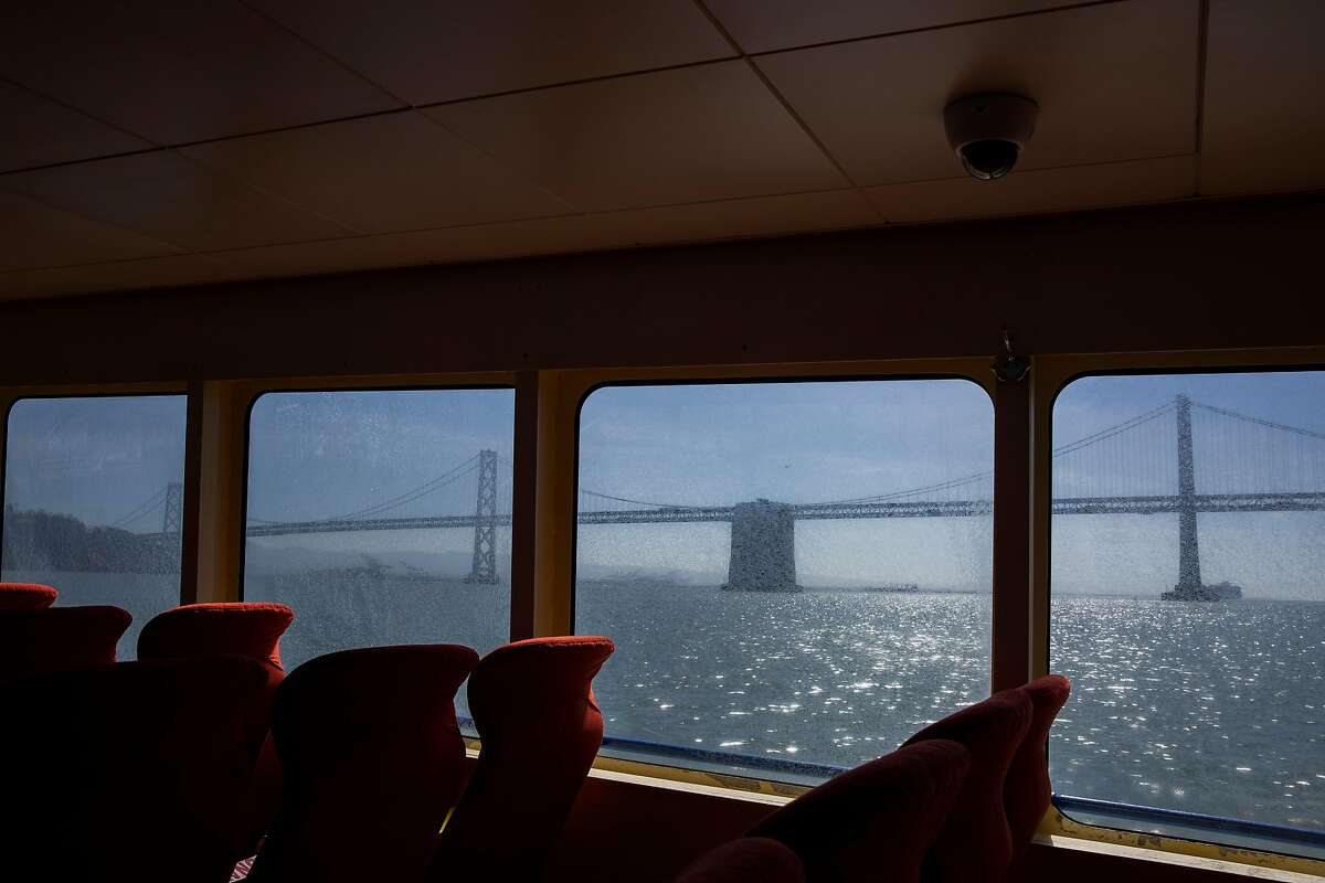 Inside the Golden Gate Ferry as it travels from San Francisco to Larkspur, Calif.
