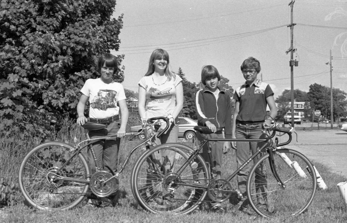 Winners in the recent bike-a-thon, sponsored by St. Jude's Children's Hospital and the Cystic Fibrosis Foundation have collected their prizes. Winners are: Daniel Gutowski, John Picardat, Tiffany Peterson and Nick Putney. The photo was published in the News Advocate on June 14, 1981. (Manistee County Historical Museum photo)