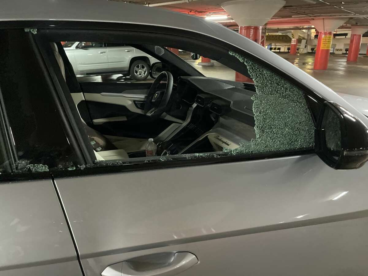 Windows were smashed on cars at a Union Square parking garage in San Francisco on June 5, 2021.