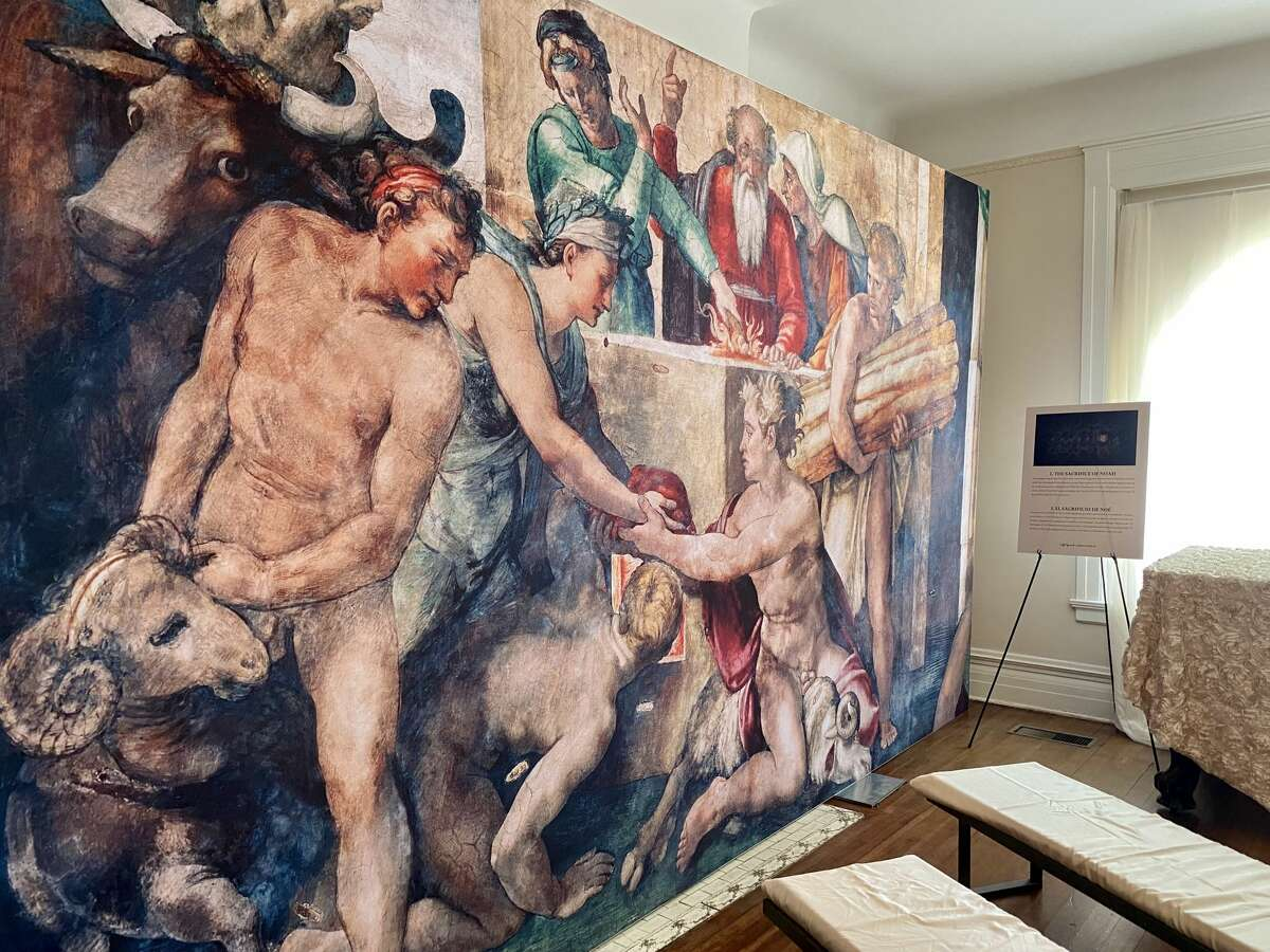"""""""The Sacrifice of Noah"""" on the first floor of Michelangelo's Sistine Chapel: The Exhibition at the Lambermont."""