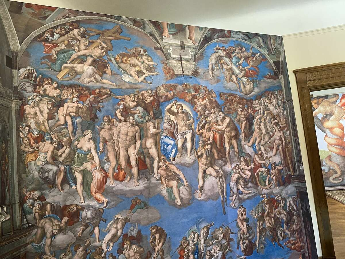 """""""The Last Judgement"""" artwork on the first floor of Michelangelo's Sistine Chapel: The Exhibition at the Lambermont."""