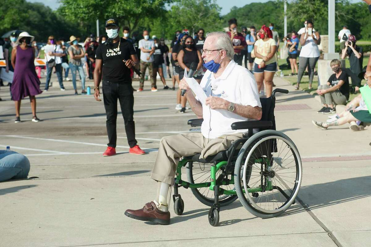 League City Mayor Pat Hallisey, shown speaking during a 2020 protest in honor of George Floyd, had angry words for two City Council members when his motion to name part of Hobbs Road after a founding Black family, the Winfields, failed to win approval. The council instead gave preliminary approval to amend the proposed ordinance to name a planned road after the family.