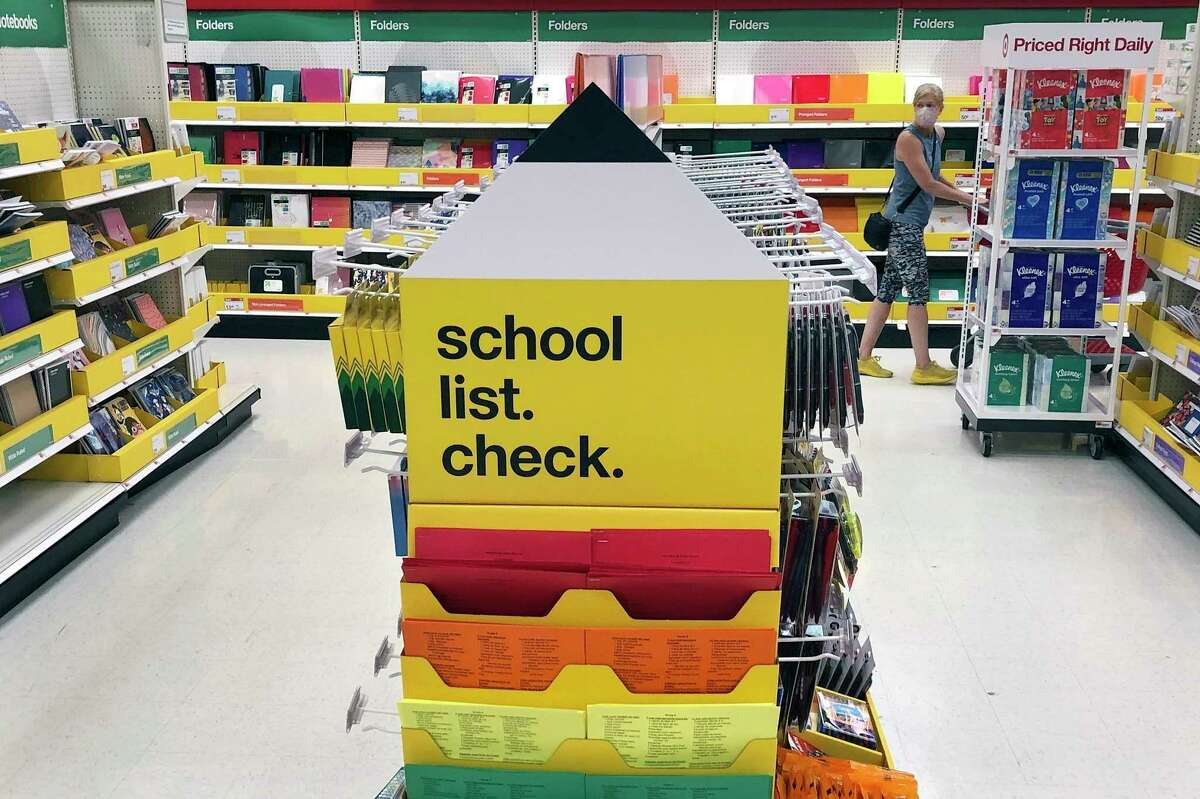 Back-to-school supplies await shoppers at a store Saturday, July 11, 2020, in Marlborough, Massachusetts.Jennifer Rook, vice president of communications and marketing at the Michigan Retailers Association, expectsback-to-school shoppingto likely top pre-pandemic levels as parents and kids seek a fresh start. (AP Photo/Bill Sikes)
