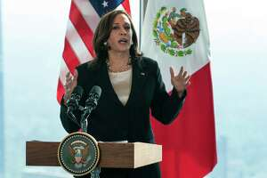 Vice President Kamala Harris speaks to the media, Tuesday, June 8, 2021, at the Sofitel Mexico City Reforma in Mexico City.