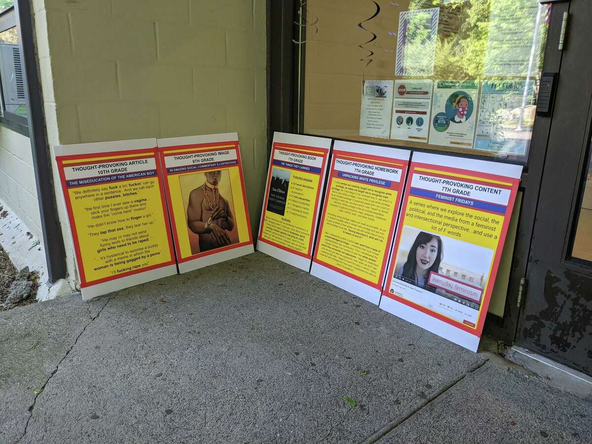 Greenwich resident Jackie Homan brought these posters to a May 20 meeting of the Board of Education, at Central Middle School. Homan said the posters were thrown out by the district and filed a police report. Photos of the posters are also featured on a website associated with the Greenwich Patriots, though Homan has not confirmed her involvement with the group, which has circulated protest materials throughout Greenwich.