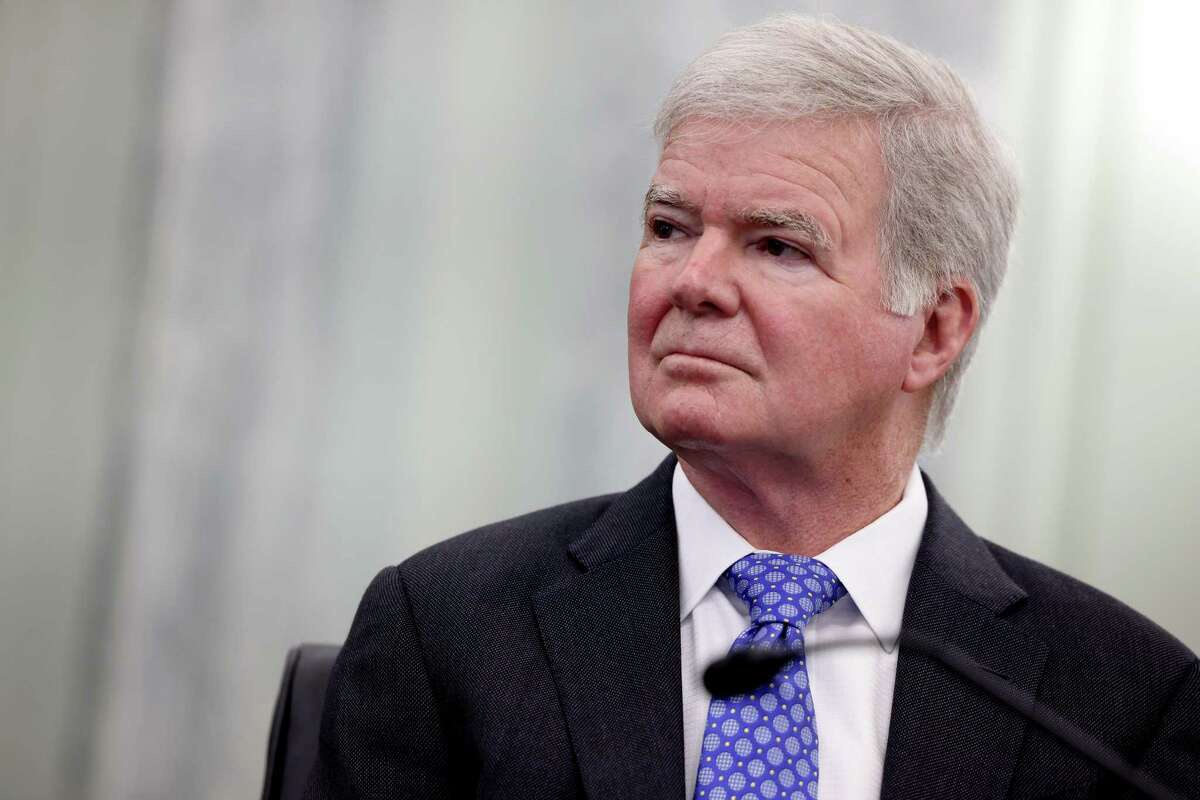 """NCAA president Mark Emmert listens during a Senate Commerce, Science and Transportation Committee hearing on """"NCAA Athlete NIL (name, image, and likeness) Rights"""" on Capitol Hill on June 9, 2021 in Washington, DC."""