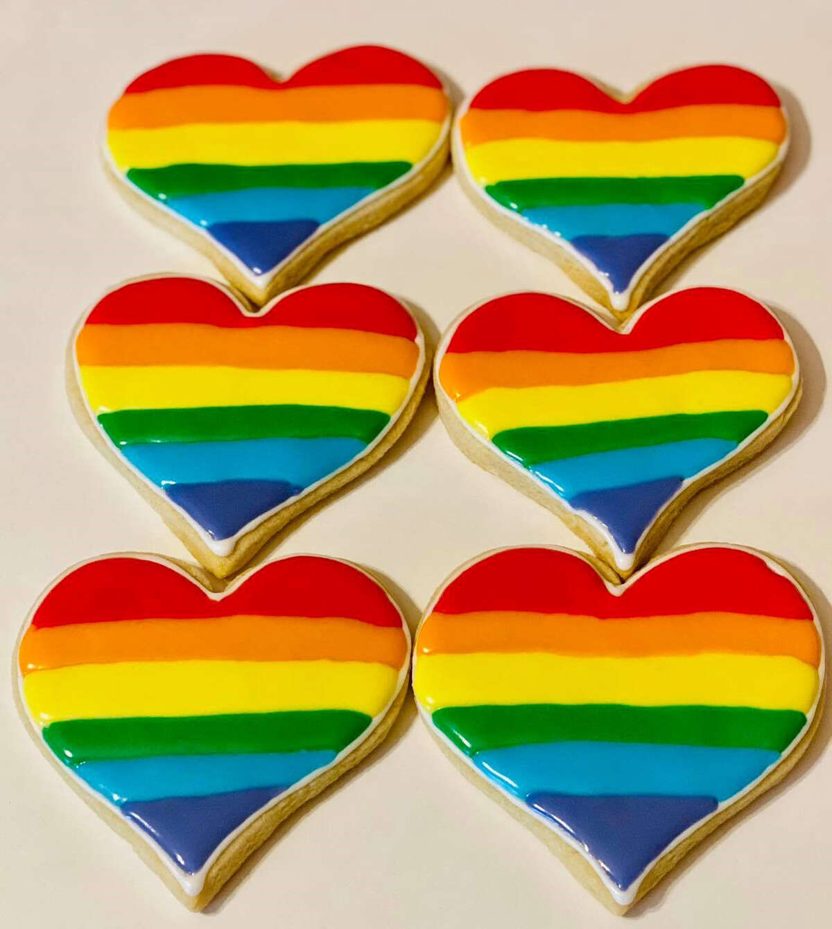 The photo of rainbow Pride cookies that was posted on Confections' Facebook page on June 2. Shortly after the bakery shared the image, it lost dozens of followers on social media and a patron canceled a large cookie order.