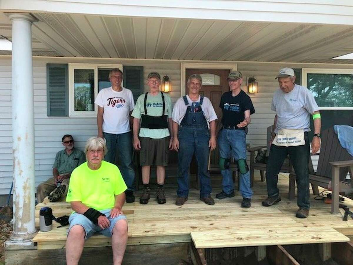 Habitat for Humanity volunteers, (from left) BruceFredrickson, Paul Glaser,Steve Rogers, Ken Warren, Mick Szymanski and Barry Elder, constructed a new ramp at Choices of Manistee County this week. (Courtesy photo/Vanessa Buhs)