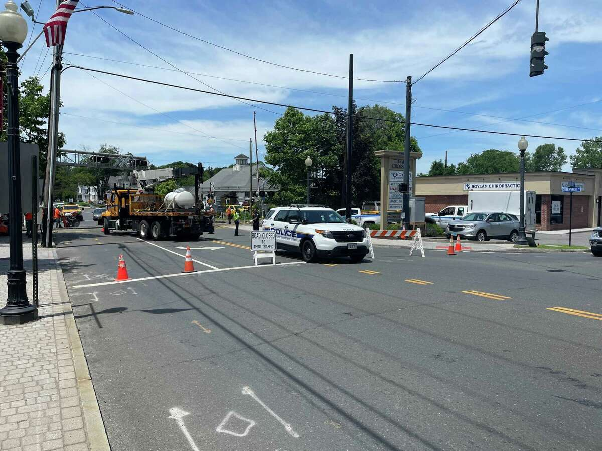 A sinkhole prompted the closure of Greenwood Avenue in Bethel and disrupted Metro-North Thursday, June 10, after being discovered. Workers said they expected to be able to reopen the area Monday.