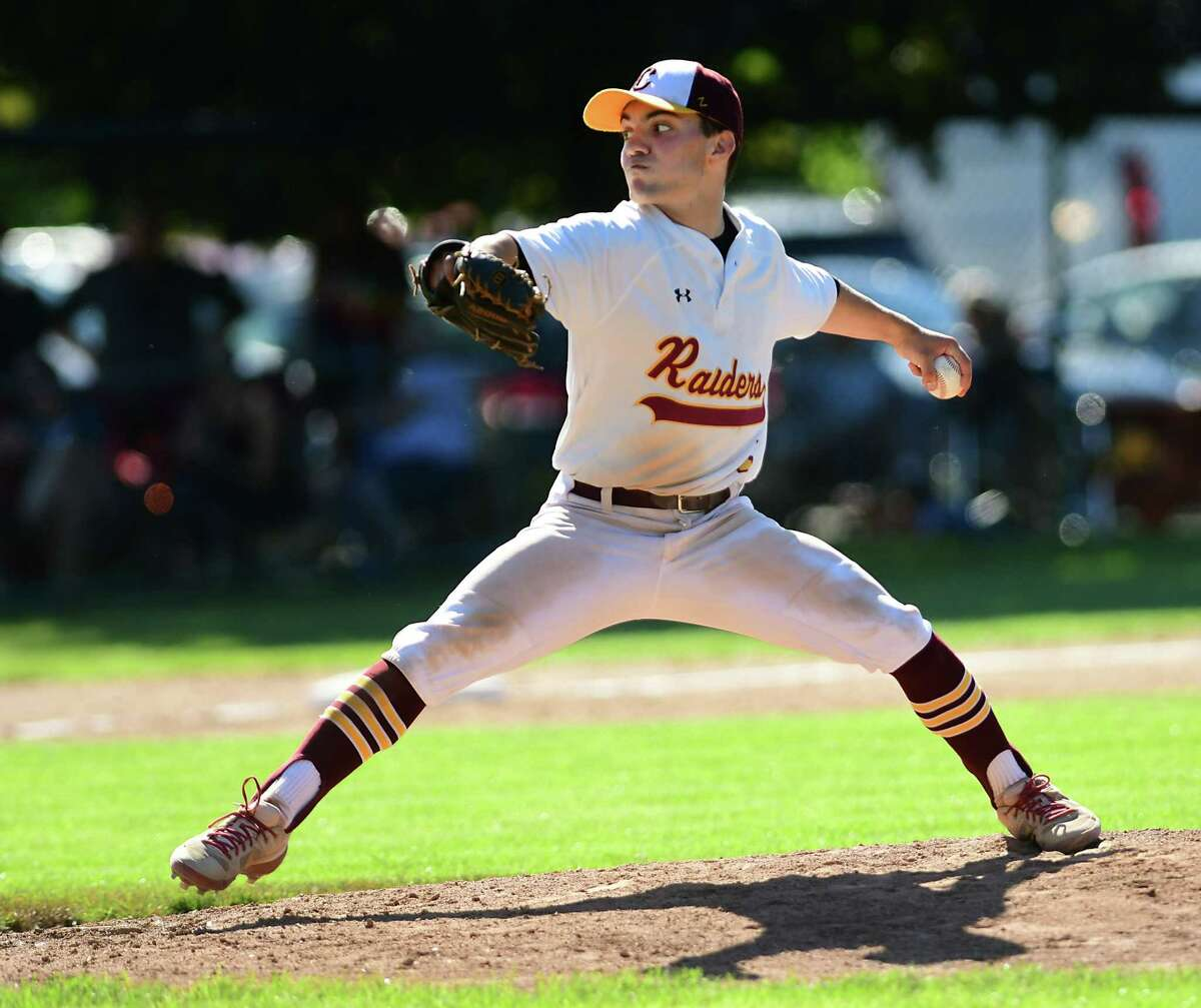 Colonie pitcher Tyler Sausville throws the ball during a baseball game against Columbia at Cook Park on Thursday, June 10, 2021 in Colonie, N.Y. (Lori Van Buren/Times Union)