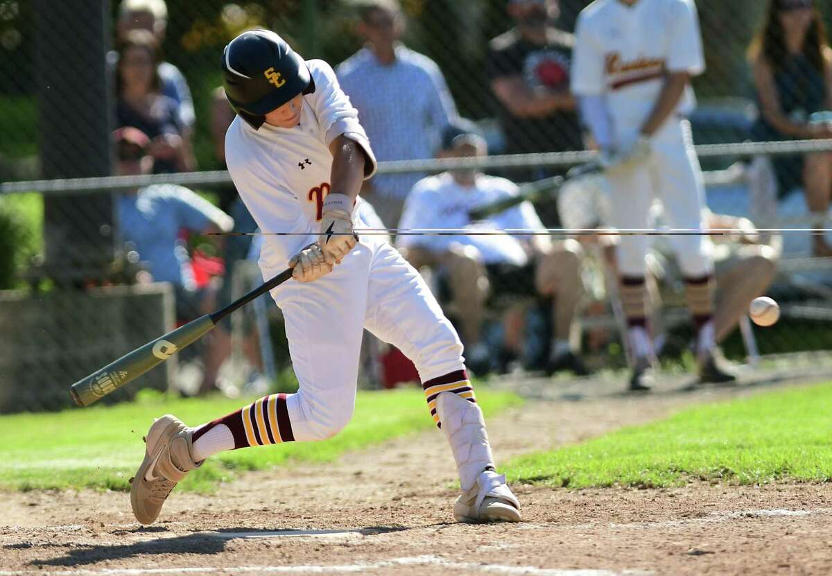 Colonie's Tyler Figueroa, #16, hits a home run during a baseball game against Columbia at Cook Park on Thursday, June 10, 2021 in Colonie, N.Y. (Lori Van Buren/Times Union)