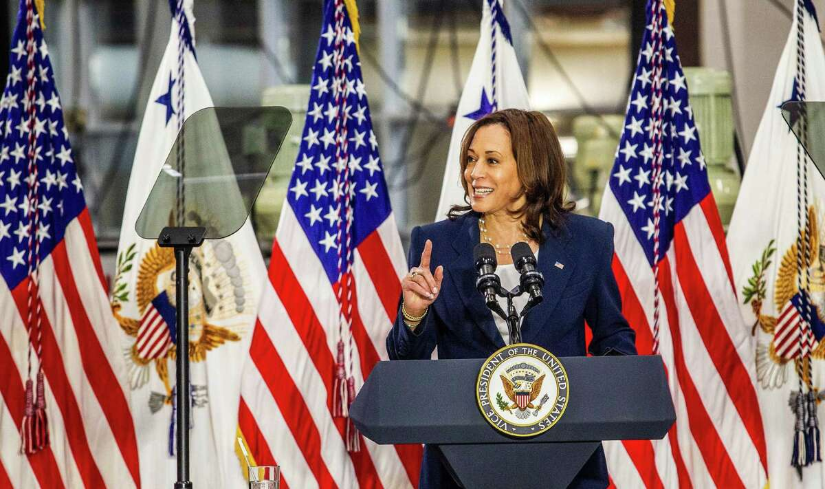 Vice President Kamala Harris pitches the Biden administration's infrastructure plan Monday, April 19, 2021 at Guilford Technical Community College in Jamestown, North Carolina. (Travis Long/The News and Observer/TNS)