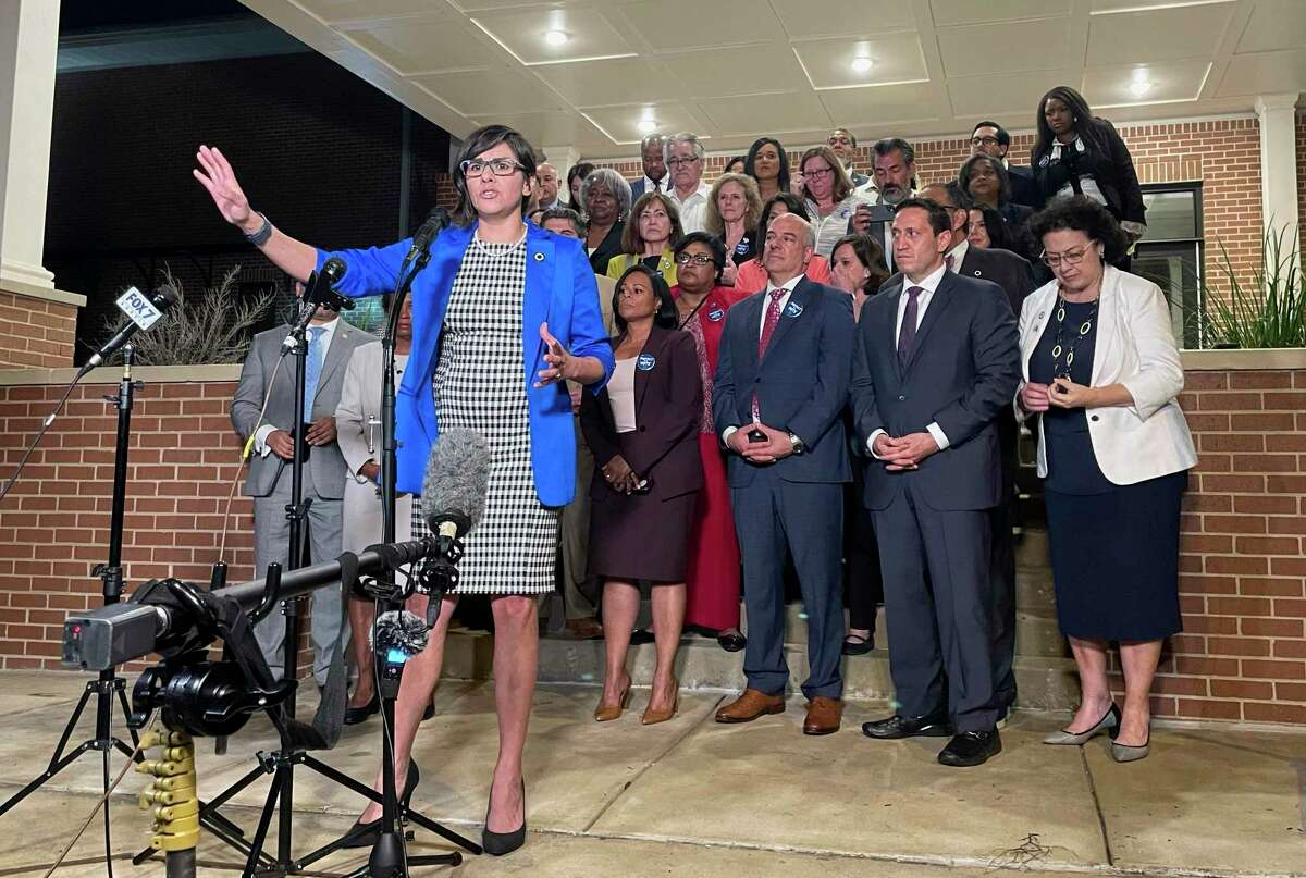 Texas state Rep. Jessica Gonzalez speaks during a news conference in Austin, Texas, on early Monday, May 31, 2021, after House Democrats pulled off a dramatic, last-ditch walkout and blocked one of the most restrictive voting bills in the U.S. from passing before a midnight deadline. (AP Photo/Acacia Coronado)