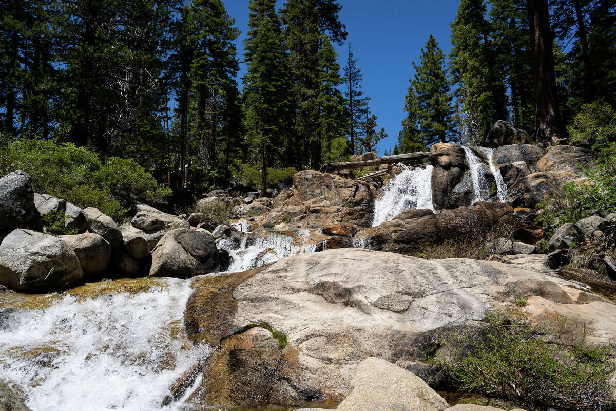 Waterfalls spill into emerald pools at Shirley Canyon in Lake Tahoe.