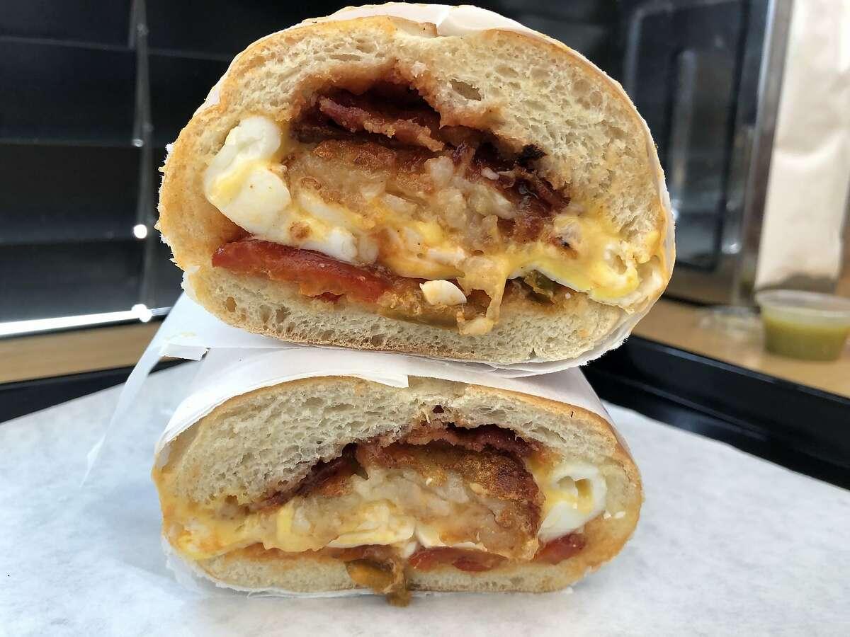 Newkirk's, an East Coast-style sandwich shop, stuffs crisp hash browns into breakfast sandwiches.