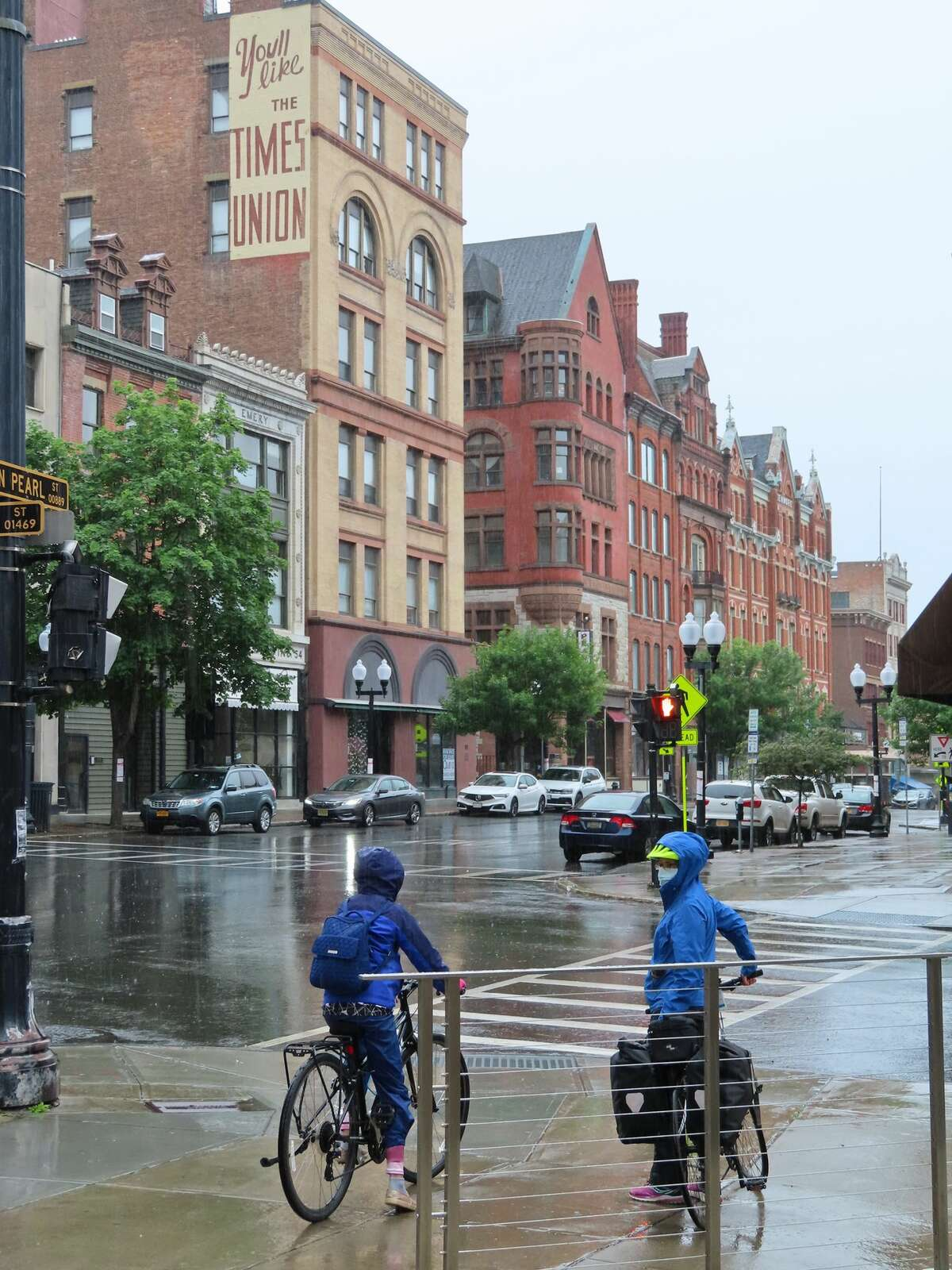 Exploring downtown Albany in a bit of rain. Note the upper left.
