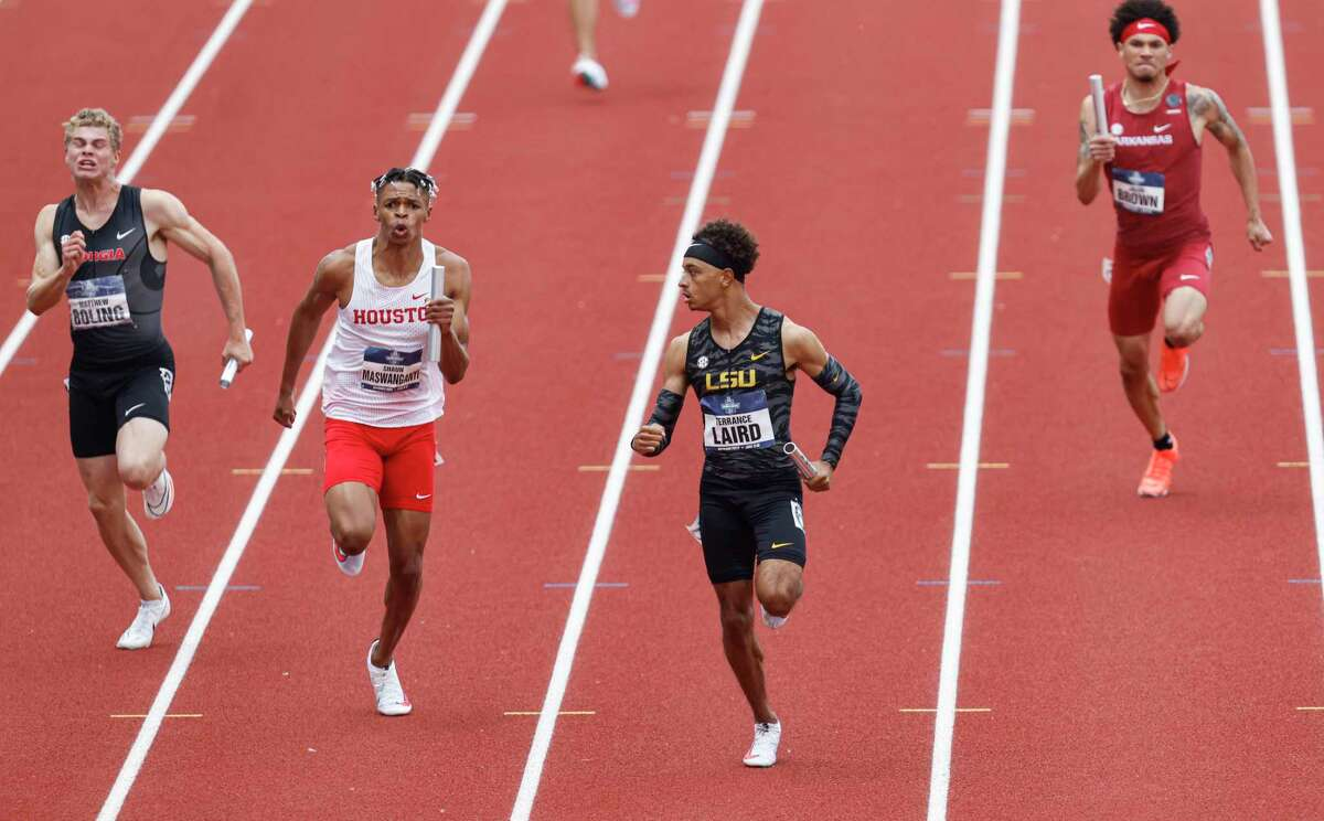 Houston's Shaun Maswanganyi helped the Cougars qualify for the final in the 4x100 relay at the NCAA championships. LSU and Terrane Laird won Wednesday's semifinal. Georgia and Matthew Boling (left) also made the final.
