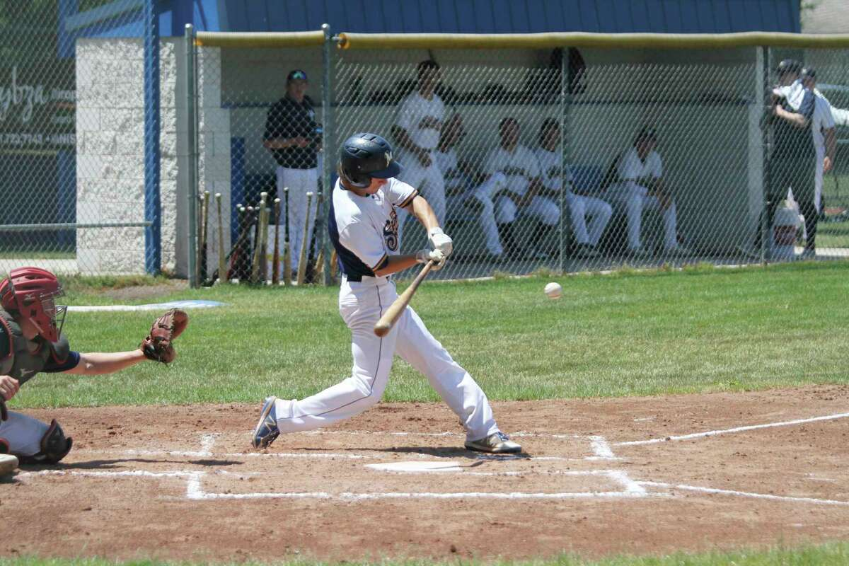 Lucas Weinert and the Manistee Saints will travel to Howell on Saturday and Sunday for a four-game series with Michigan Sports Academy. (Dylan Savela/News Advocate)