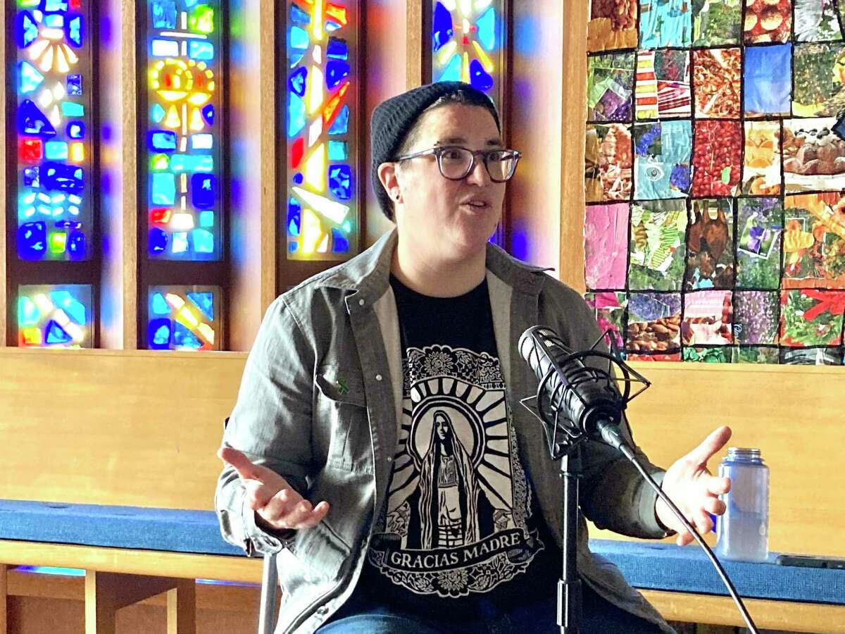 Bishop-elect Megan Rohrer meets at the Grace Evangelical Lutheran Church with Peter Hartlaub and Heather Knight to record the Total SF podcast.