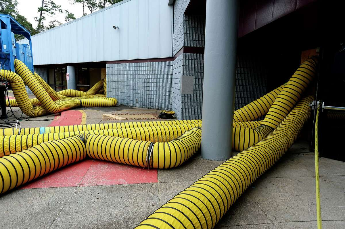 Drying equipment pumps air into Vidor Middle School on Thursday. The school's fifth graders will go to class in a separate wing at Vidor High School, and the sixth graders will go to the junior high. Photo taken Thursday 9/14/17 Ryan Pelham/The Enterprise