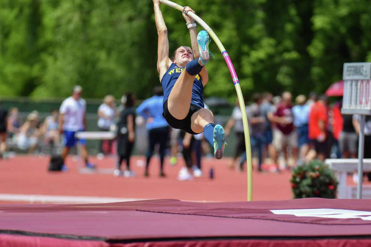 Ellison Weiner of Weston competes in the pole vault finishing 2nd during the CT State Open Track and Field Championship on June 10, 2021 at Willow Brook Park in New Britain, CT.