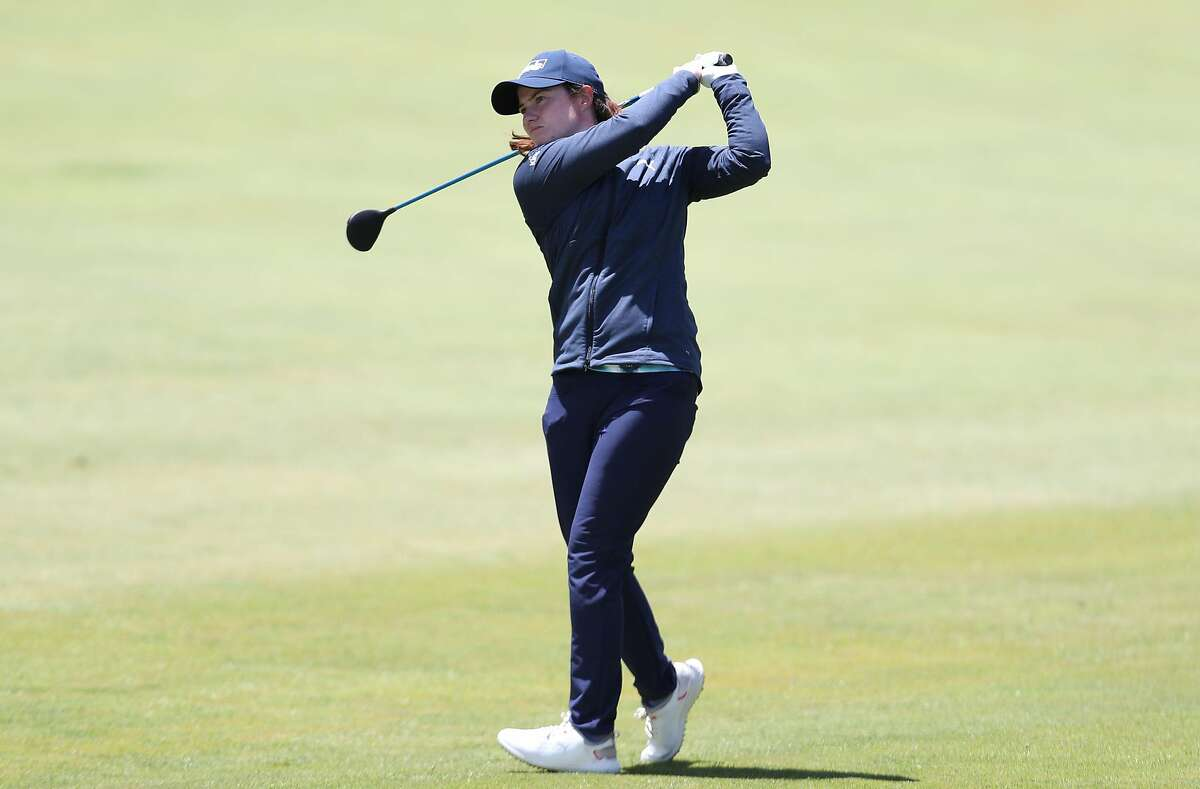 Leona Maguire, the LPGA Mediheal Championship's first-round leader, follows her shot on No. 9 at Lake Merced.