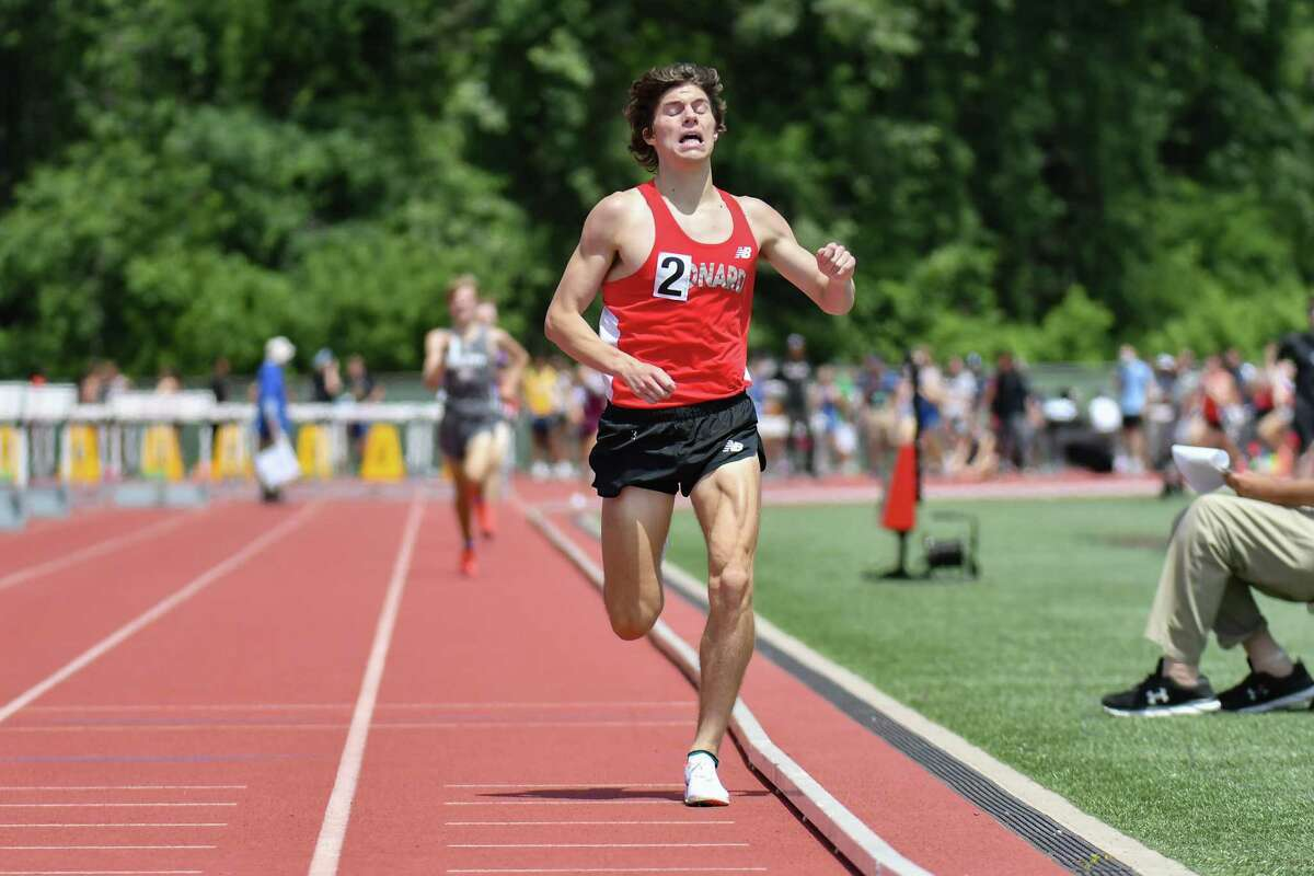 Conard's Gavin Sherry wins the 1,600-meter run in state and meet record time (4:01.88) at the State Open on June 10. Sherry also broke the State Open record in the 3,200 and Class L records in the 1,600 and 3,200.