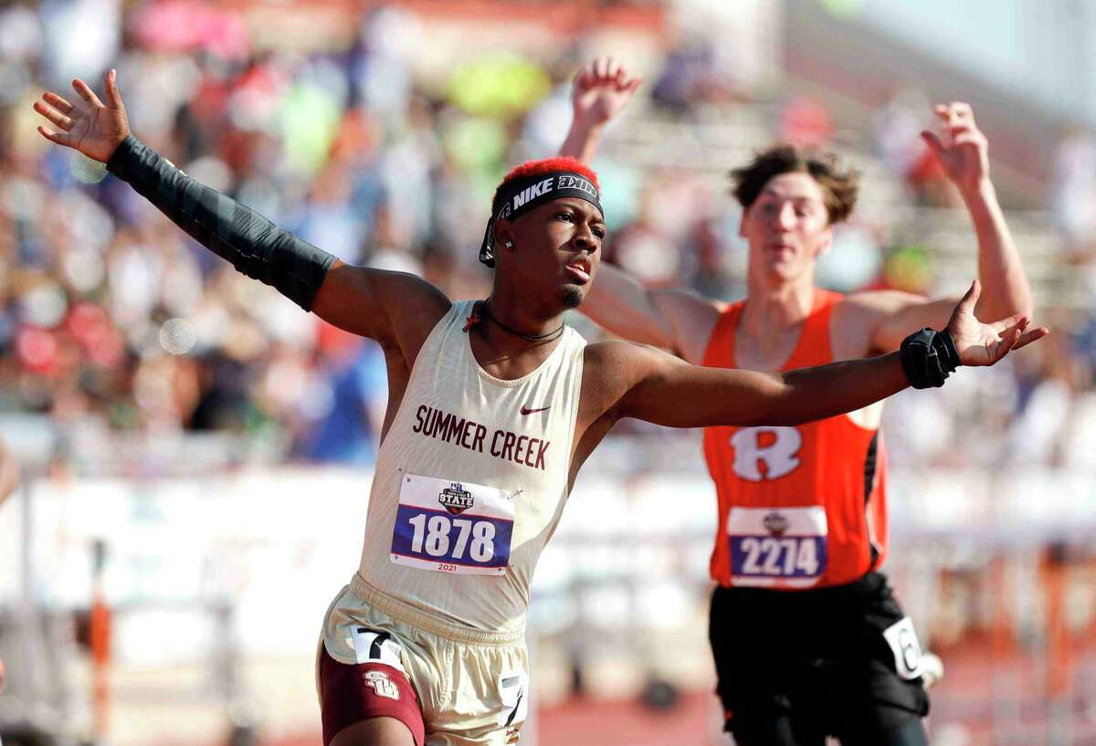 Barry Richards of Summer Creek reacts after winning the boys 110-meter hurdles during the Class 6A UIL Track and Field Championships at Mike A. Myers Stadium, Saturday, May 8, 2021, in Austin.