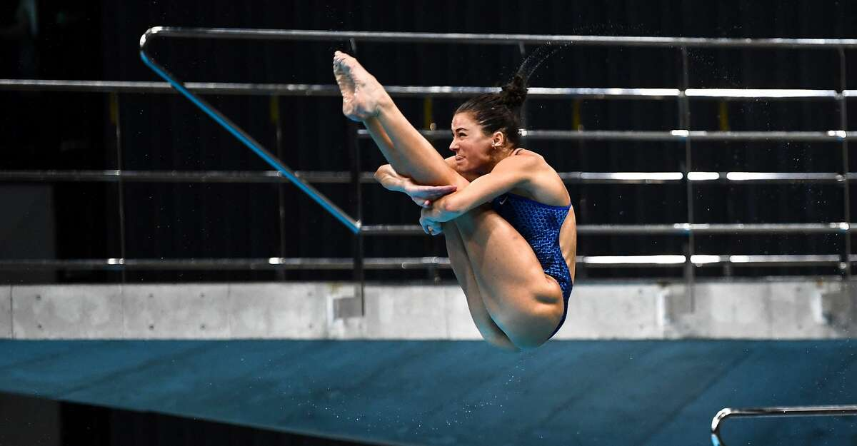 Kassidy Cook of the US competes during the women's synchronised 3m springboard at the FINA Diving World Cup, which doubles as a test event for the 2020 Tokyo Olympics, at the Tokyo Aquatics Centre on May 1, 2021. (Photo by CHARLY TRIBALLEAU/AFP via Getty Images)