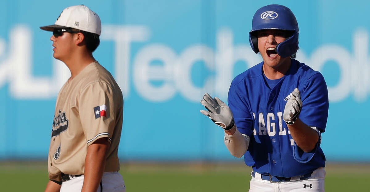 Braden Jacobs #7 of Barbers Hill reacts after hitting a 3-RBI double to give the Eagles a 10-8 lead in the sixth inning of a Class 5A state semifinal game during the UIL State Baseball Championships at Dell Diamond, Thursday, June 10, 2021, in Round Rock.
