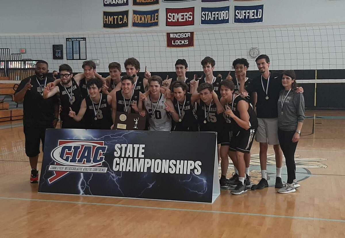 The Joel Barlow boys volleyball team celebrates after beating Newington to win the CIAC Class M championship on Thursday, June 10, 2021 at SMSA in Hartford, Conn.