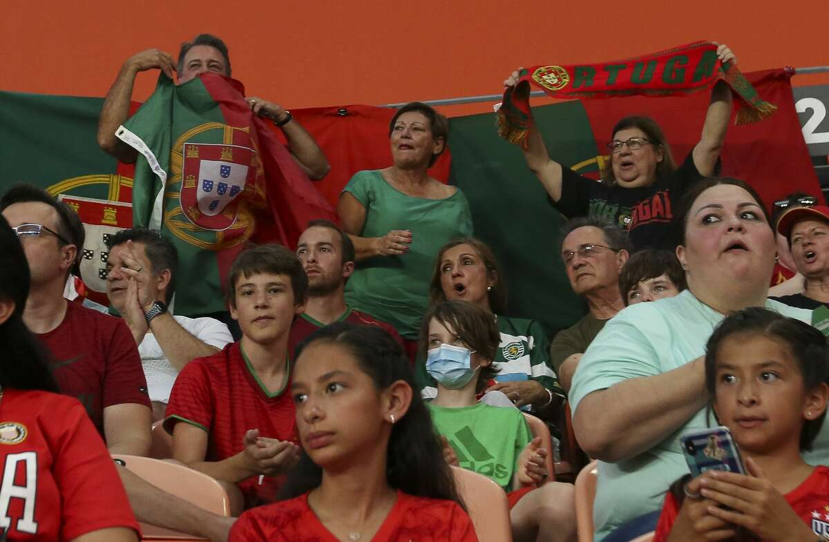 Portugal fans cheers for the team during the first half of the 2021 Summer Series match against U.S. Women's National Team Thursday, June 10, 2021, at BBVA Stadium in Houston.