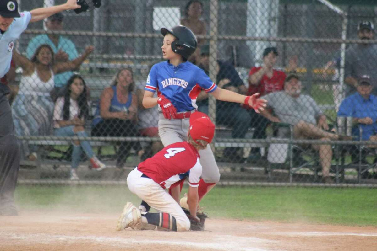 Brayden Ferraro dramatically finishes scoring all the way from second base on a wild pitch that tied the game at 8-8 Thursday night.