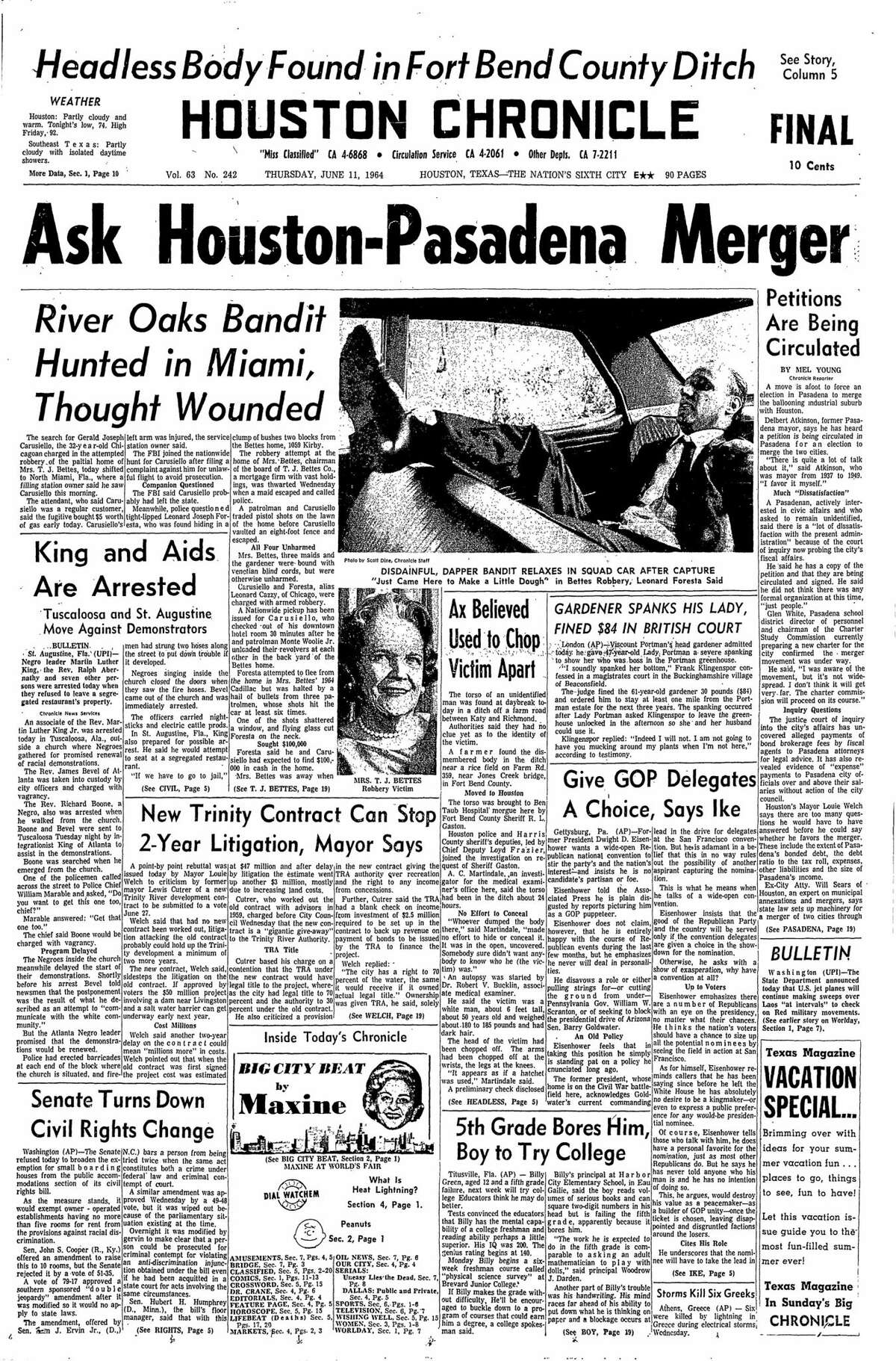 Houston Chronicle front page for June 11, 1964.