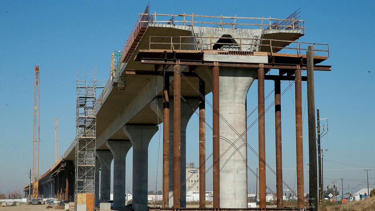 FILE - This Dec. 6, 2017, file photo shows one of the elevated sections of the high-speed rail under construction in Fresno, Calif. (AP Photo/Rich Pedroncelli, File)